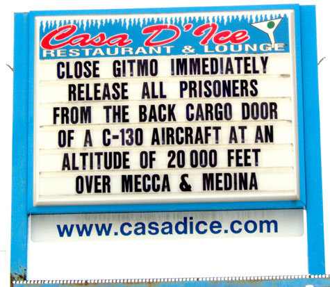Close Gitmo Immediately  Release All Prisoners From The Back Cargo Door Of a C-130 Aircraft At An Altitude Of 20,000 Feet Over Mecca & Medina